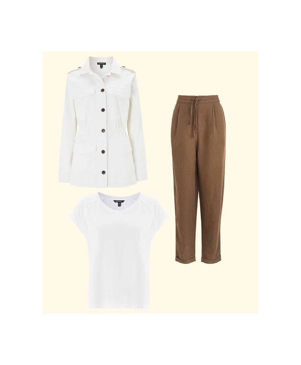 Shop Drake Organic Utility Jacket Soft White, Catherine Upcycled Top Pure White, Cooper Linen Blend Trouser Teak and more