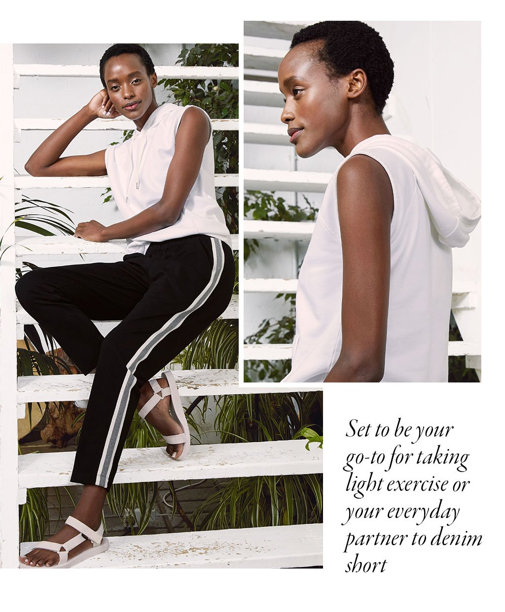Shop Drew Organic Cotton Hoodie Pure White, Georgie Pant Black with Soft White & Grey and more