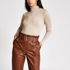 Shop River Island Womens Cream metallic long sleeve roll neck top and more
