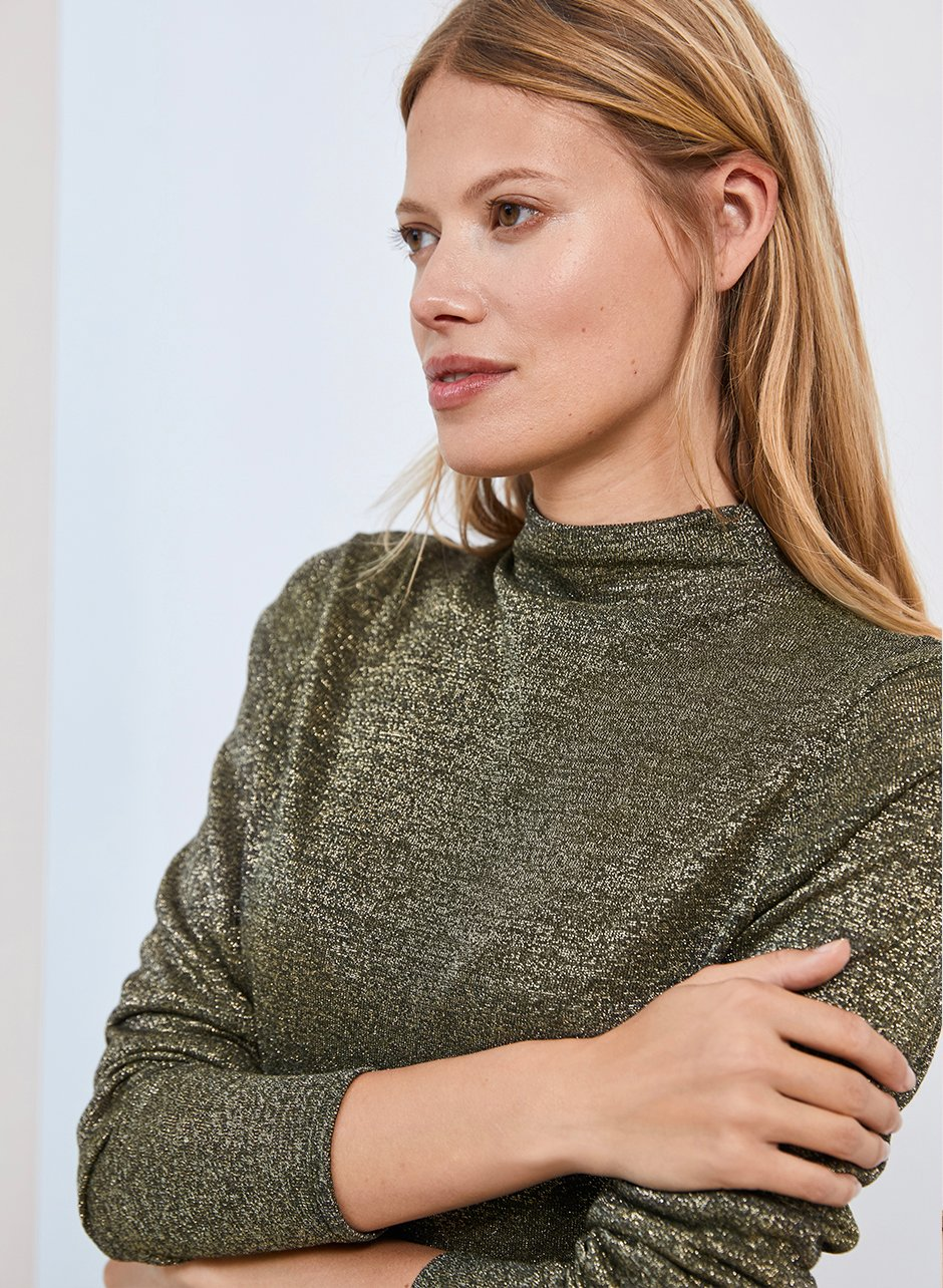 Shop Jude Fitted Top Gold Shimmer and more