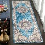 "Safavieh Bristol Daisye Vintage Boho Oriental Polyester Rug (2'3"" x 12' Runner - Blue/Light Grey)"