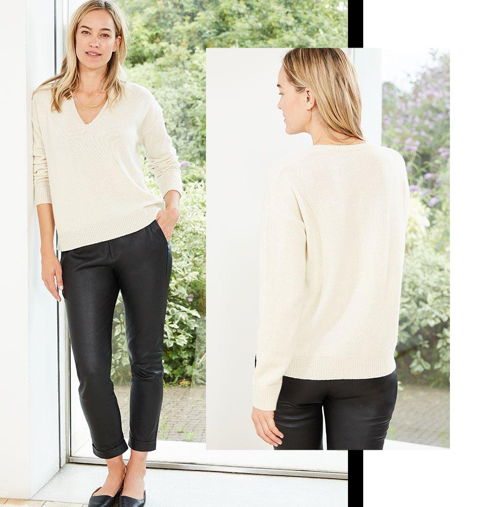 Shop Jemima Leather Trouser Caviar Black, Darcy Eco Cashmere V-Neck Jumper Winter White and more