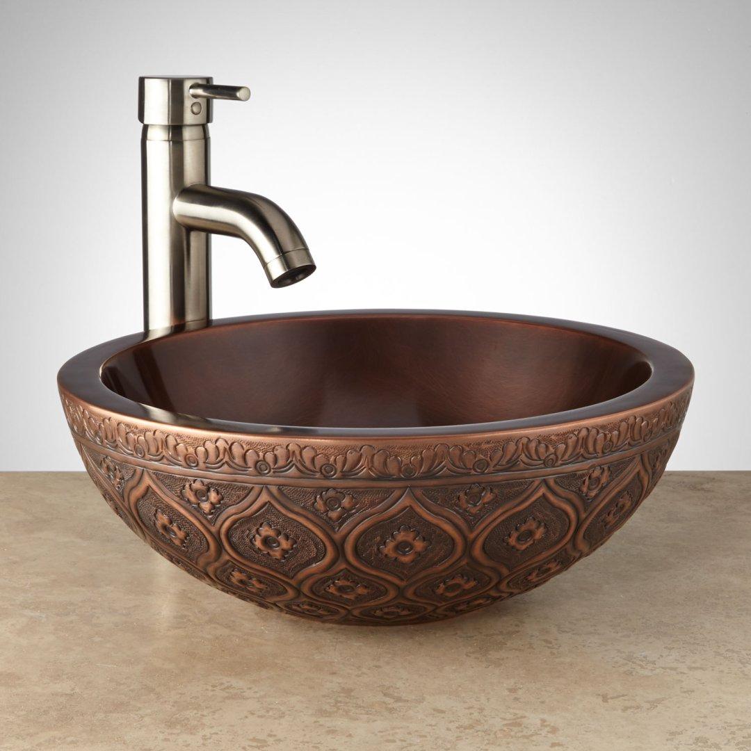 14 Nilofar Double Wall Copper Vessel Sink Bathroom Sinks Sinks