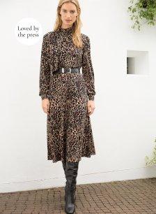 Shop Alanah Tie Dress Caramel Leopard Print and more