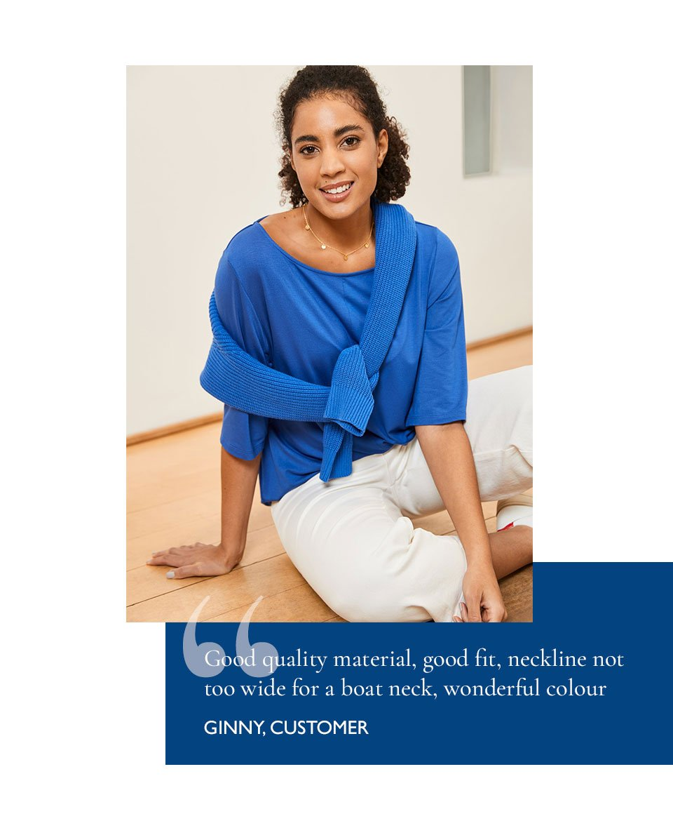 Shop Maggie Crew Neck Jumper Ocean Blue, Gail Jean Off White, Ginny Top Ocean Blue and more