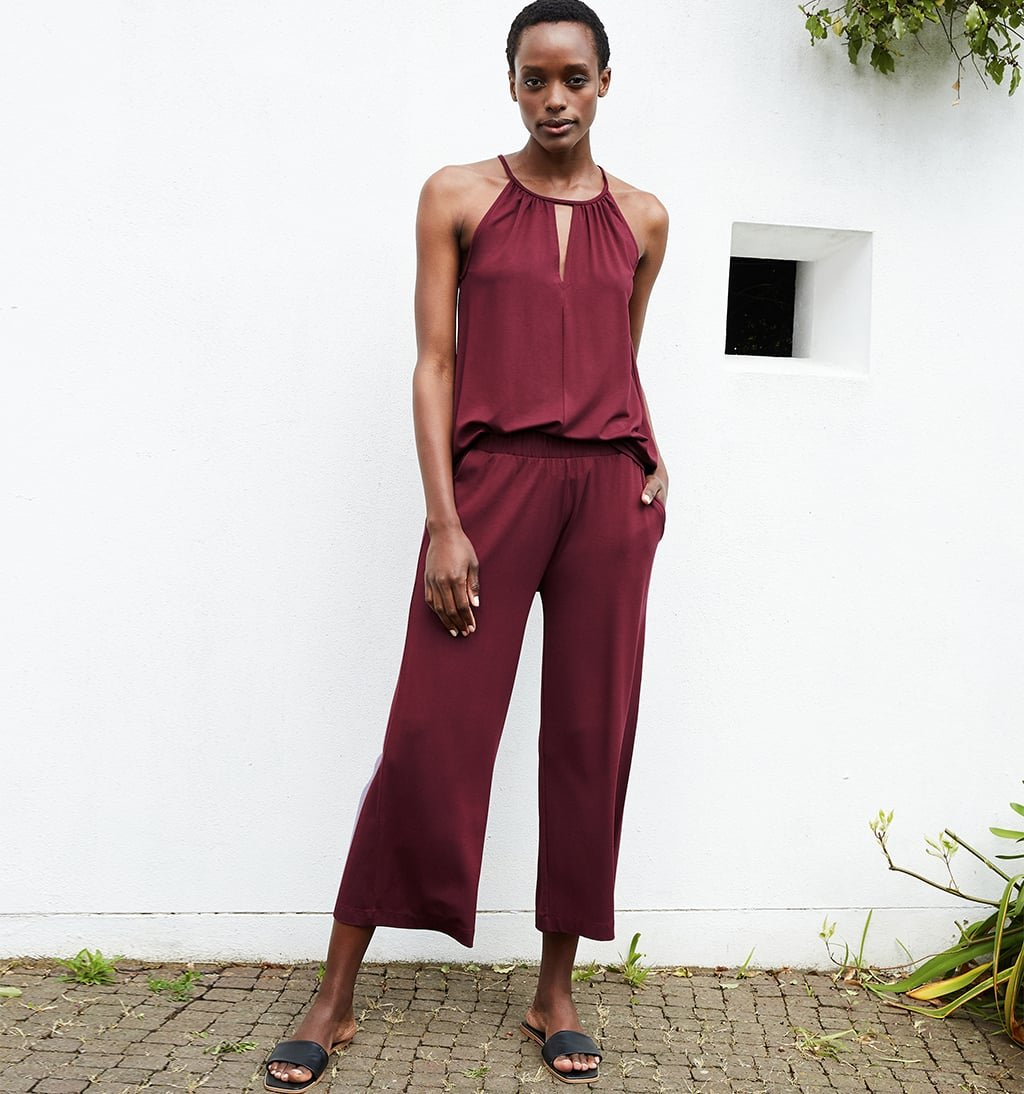 Shop Cropped Palazzo Trousers with LENZING™ ECOVERO™ Bordeaux, Anna Top with LENZING™ ECOVERO™ Bordeaux and more