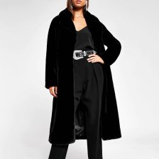 Shop River Island Womens Black faux fur robe longline coat and more