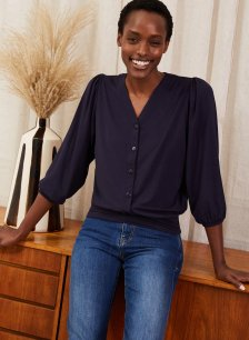 Shop Lorraine Top with LENZING™ ECOVERO™ Classic Navy and more