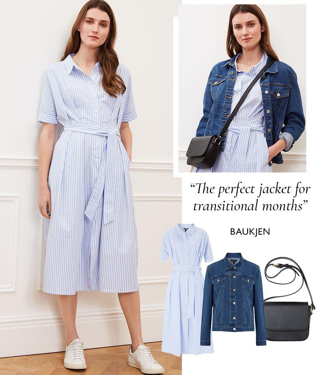 Shop Organic Denim Jacket Washed Indigo, Betty Leather Cross-body Bag Caviar Black, Arbor Shirt Dress Sky Blue & White and more
