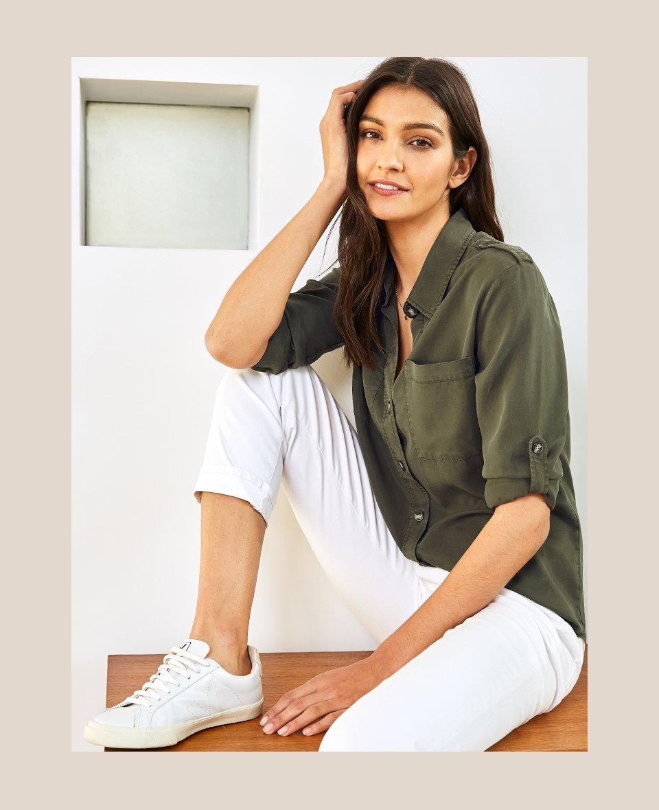 Shop Lindon Tencel™ Safari Shirt Dark Khaki, The Organic Boyfriend Jean Off White and more
