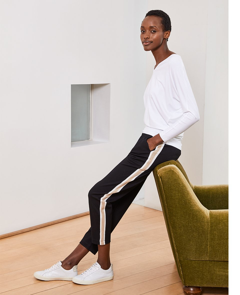Shop Ella Top with LENZING™ ECOVERO™ Pure White, Georgie Pant Black with Soft White & Camel and more