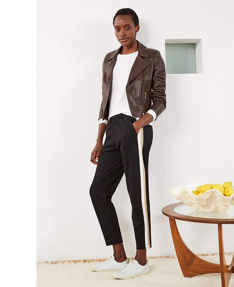 Shop Everyday Leather Biker Jacket Dark Chocolate Brown, Jay Pant Black with Putty & Soft White, Baukjen Organic Cotton Long Sleeve Top Pure White and more
