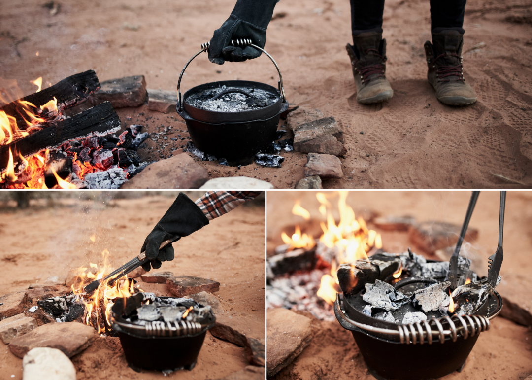 Curated image with Cast Iron Dutch Oven Classic, Open Fire Glove, Cowboy Grill Tongs
