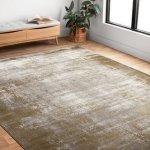 "Alexander Home Mason Abstract Modern Distressed Rug (2'7"" x 8' - Wheat/Grey)"