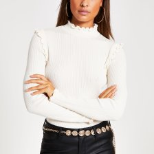 Shop River Island Womens Cream frill high neck fitted knit top and more