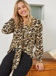 Shop Rey Ecovero™ Blouse Khaki & Beige Herringbone and more