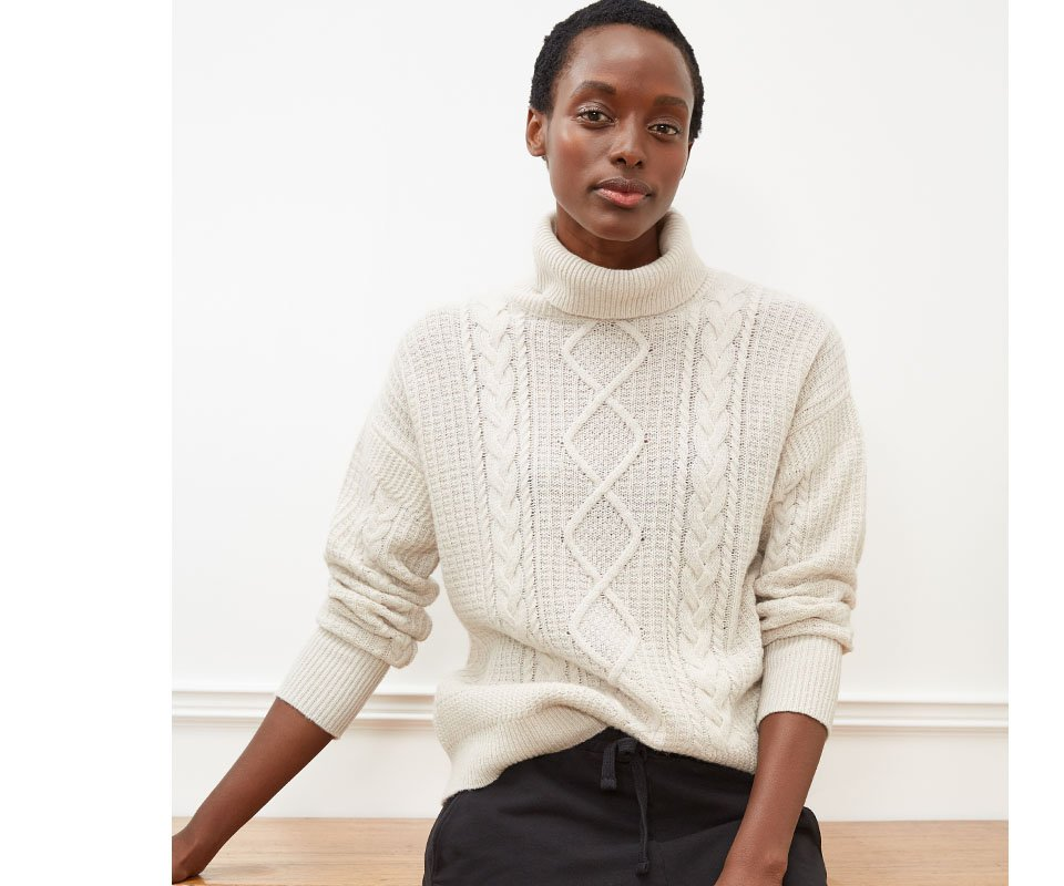 Shop Brooklyn Organic Jogger Caviar Black, Carrie Recycled Wool Jumper Cream and more