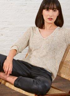 Shop Emelina V Neck Sequin Knit Gold Grey and more
