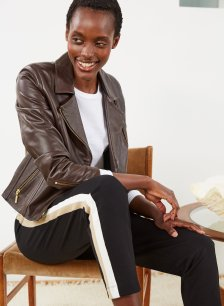 Shop Everyday Leather Biker Jacket Dark Chocolate Brown and more