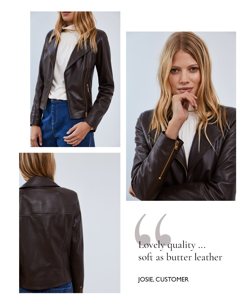 Shop Gail Jean Washed Indigo, Everyday Leather Biker Jacket Dark Chocolate Brown, Constance Top Cream and more