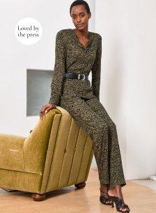 Shop Titania Jumpsuit Khaki Grain Print and more