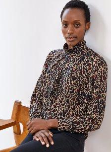 Shop Alanah Gathered Top Caramel Leopard Print and more