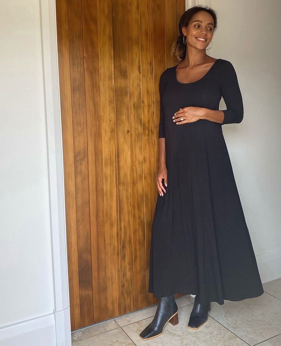 Shop Isabella Oliver Alora Ecovero™ Maternity Dress-Caviar Black and more