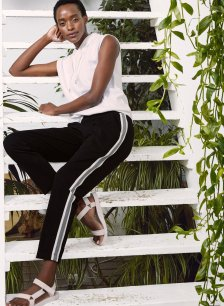 Shop Georgie Pant Black with Soft White & Grey and more