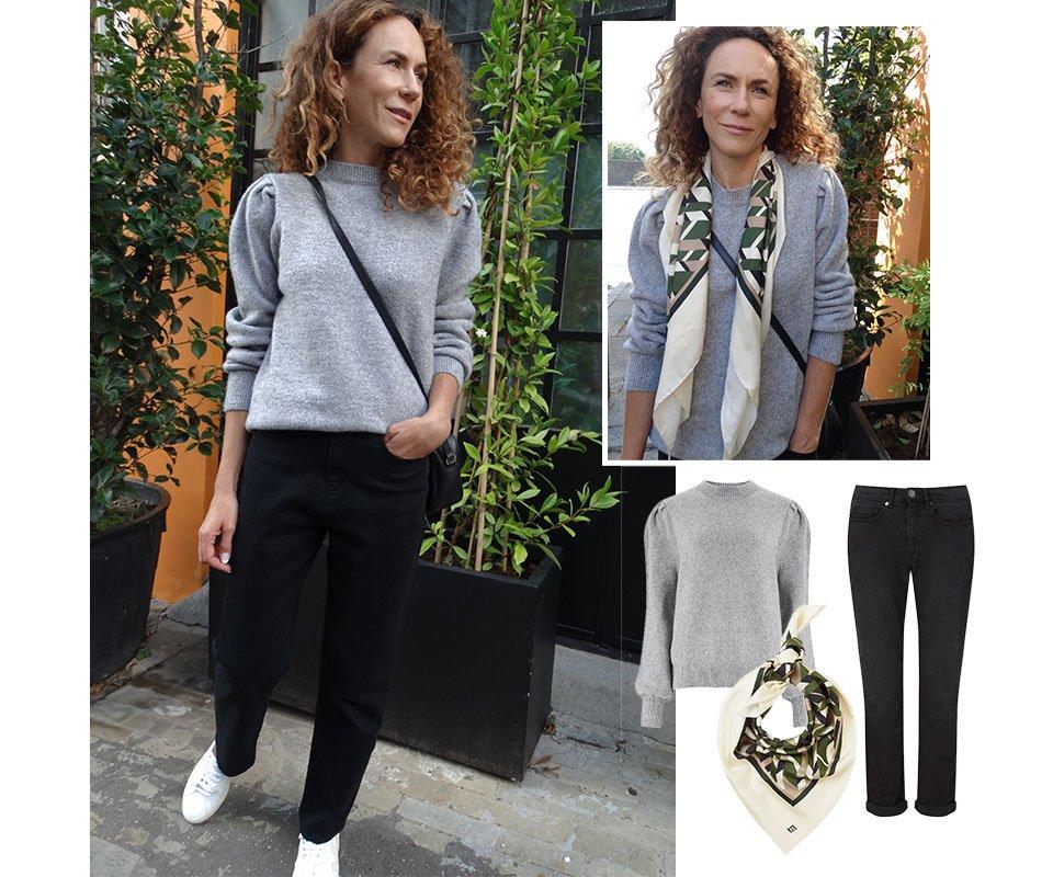Shop Shannon Jumper Grey Marl, The Boyfriend Jean Black Wash, Rey Silk Scarf Khaki & Beige Herringbone and more