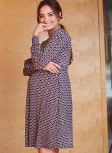 Shop Isabella Oliver Dawson Maternity Dress-Navy Chain Print and more