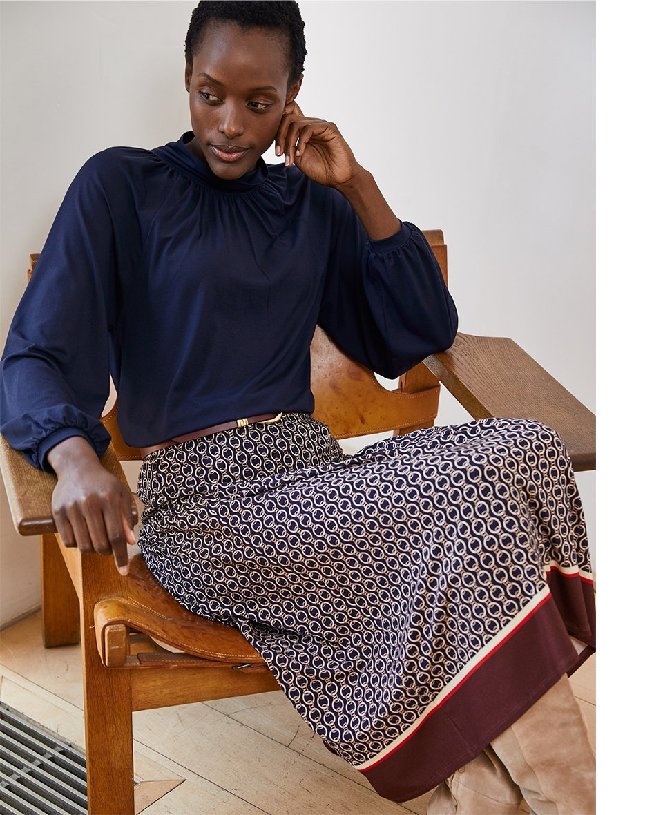 Shop Chamille Skirt Navy Chain Print, Baukjen Signature Belt Gold Buckle Oxblood and more