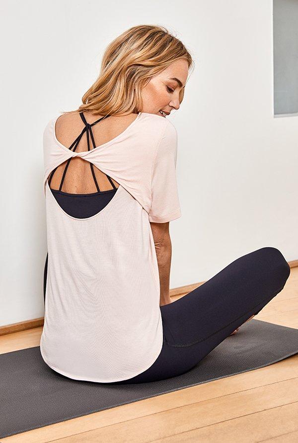 Shop The Yoga Top Rose, The Active Vest Caviar Black, The Active Cropped Leggings Caviar Black and more