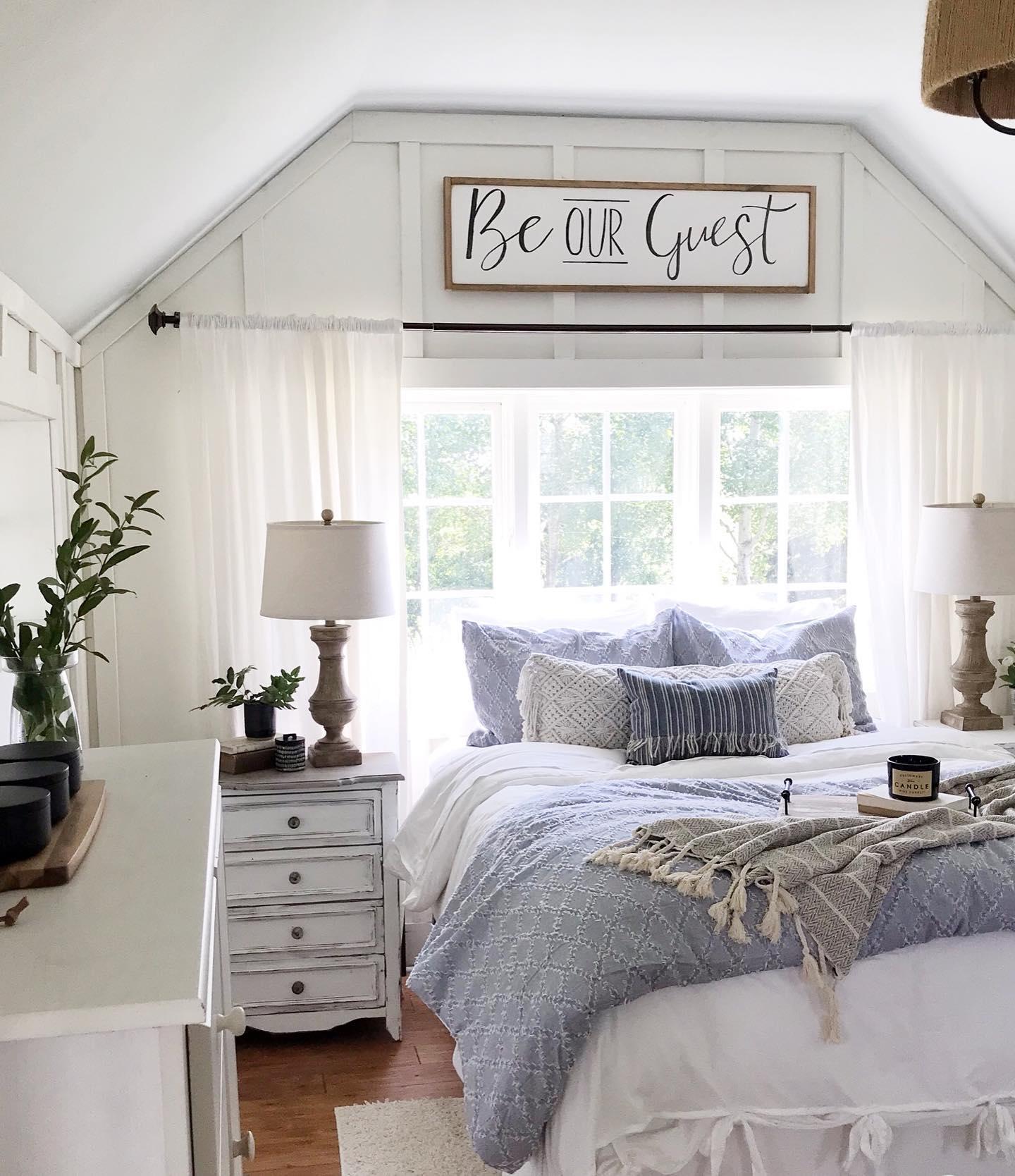 Beachy farmhouse guest room Instagram Post