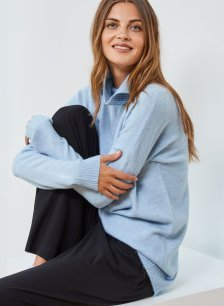 Shop Reena Roll Neck Jumper Dusted Blue and more