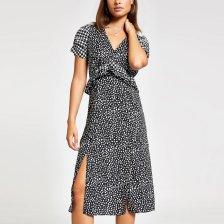 Shop River Island Womens Black polka dot puff sleeve midi dress and more