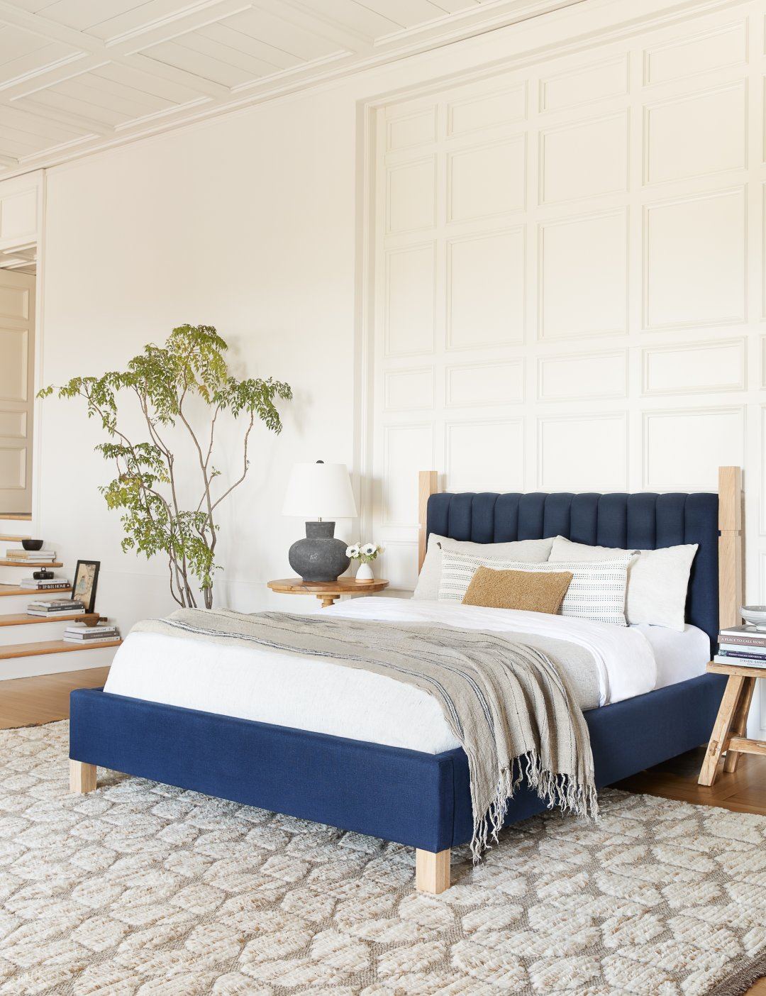 Curalate Reveal: Interactive image with Ambleside Linen Bed, Dark Blue By...