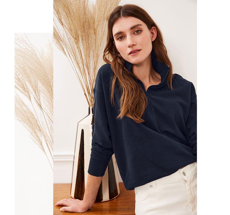 Shop Brooklyn Organic Zip Sweatshirt Classic Navy, Gail Jean Off White and more