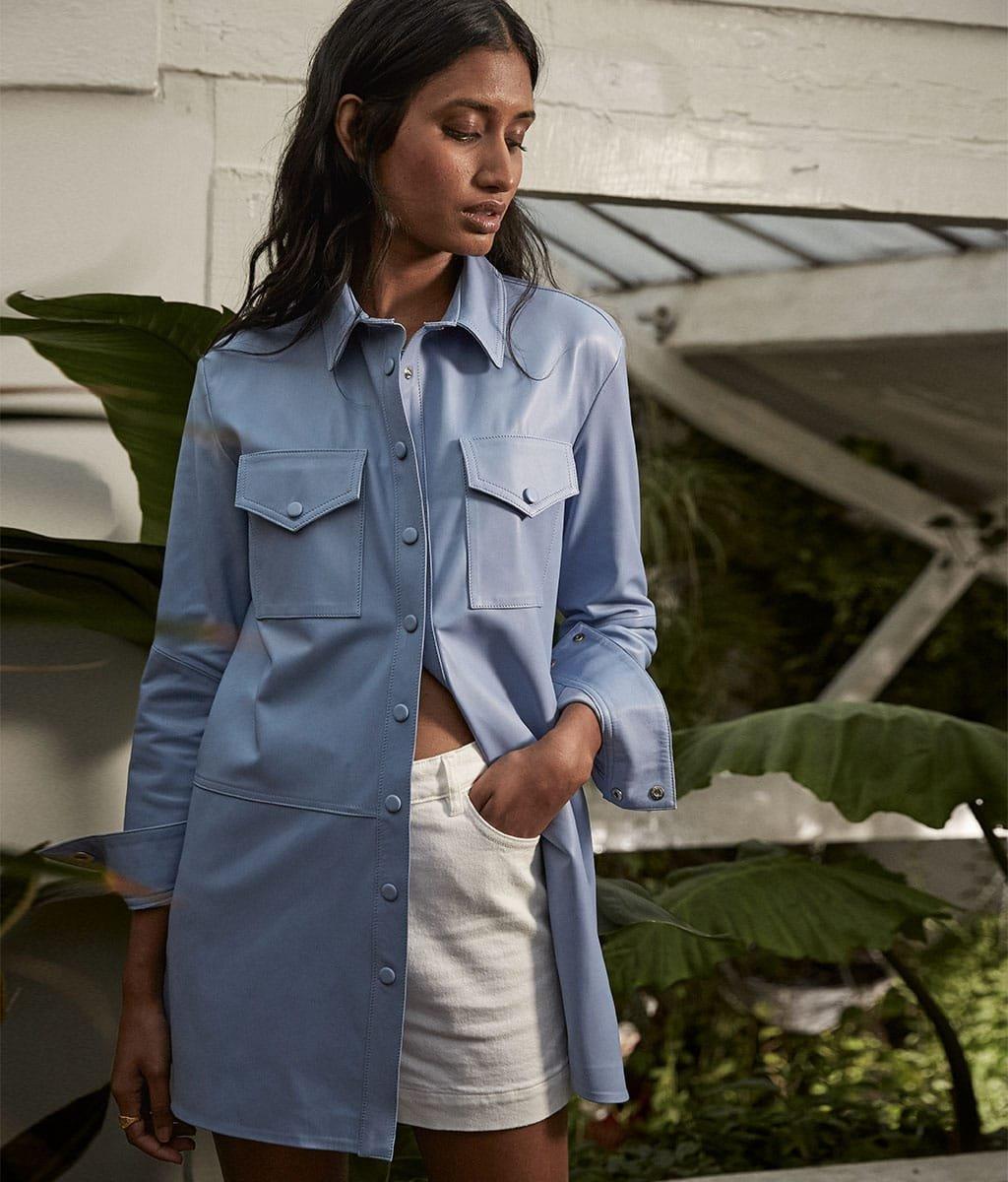 Shop Fran Leather Jacket, Elina Organic Short Soft White and more