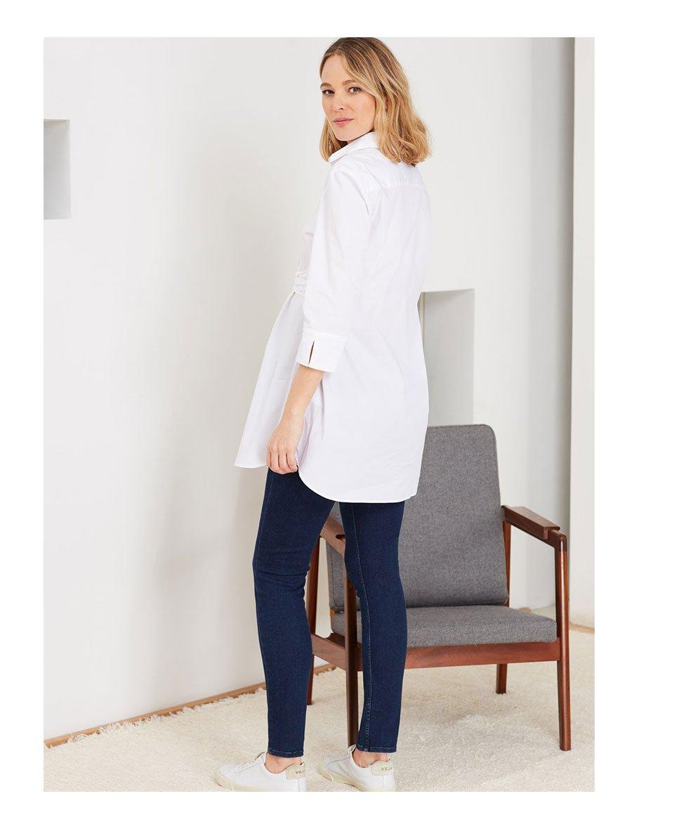 Shop Isabella Oliver Kelly Maternity Shirt-Pure White, Isabella Oliver Super Stretch Maternity Skinny Jean-Indigo and more