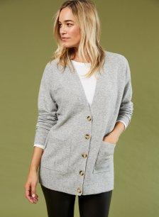 Shop Taryn Boyfriend Cardigan Mid Grey and more