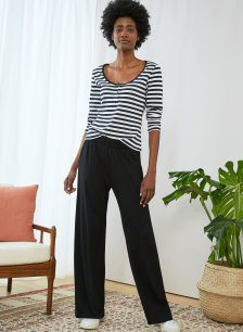 Shop Palazzo Wide Leg Trousers with LENZING™ ECOVERO™ Caviar Black and more