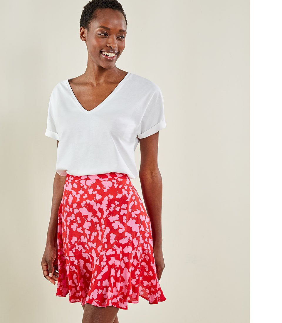 Shop Iona Organic Top Pure White, Pippa Skirt Red Silhouette Floral and more