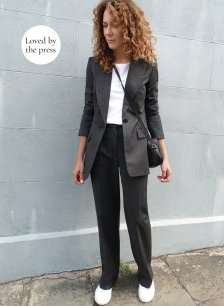 Shop Elizabeth Blazer Charcoal Pinstripe and more