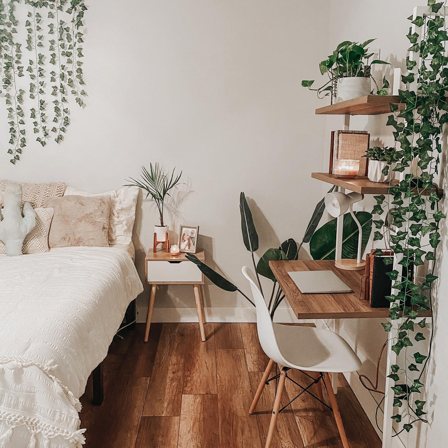 Natural airy bedroom office Instagram Post