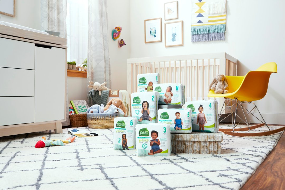 diaper collection on nursery floor