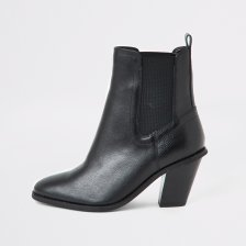 Shop River Island Womens Black leather western boots and more