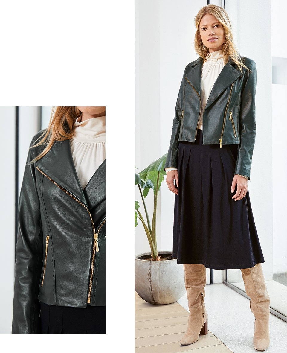 Shop Everyday Leather Biker Jacket Forest Green, Constance Top Cream, Andie Ecovero™ Skirt Caviar Black and more