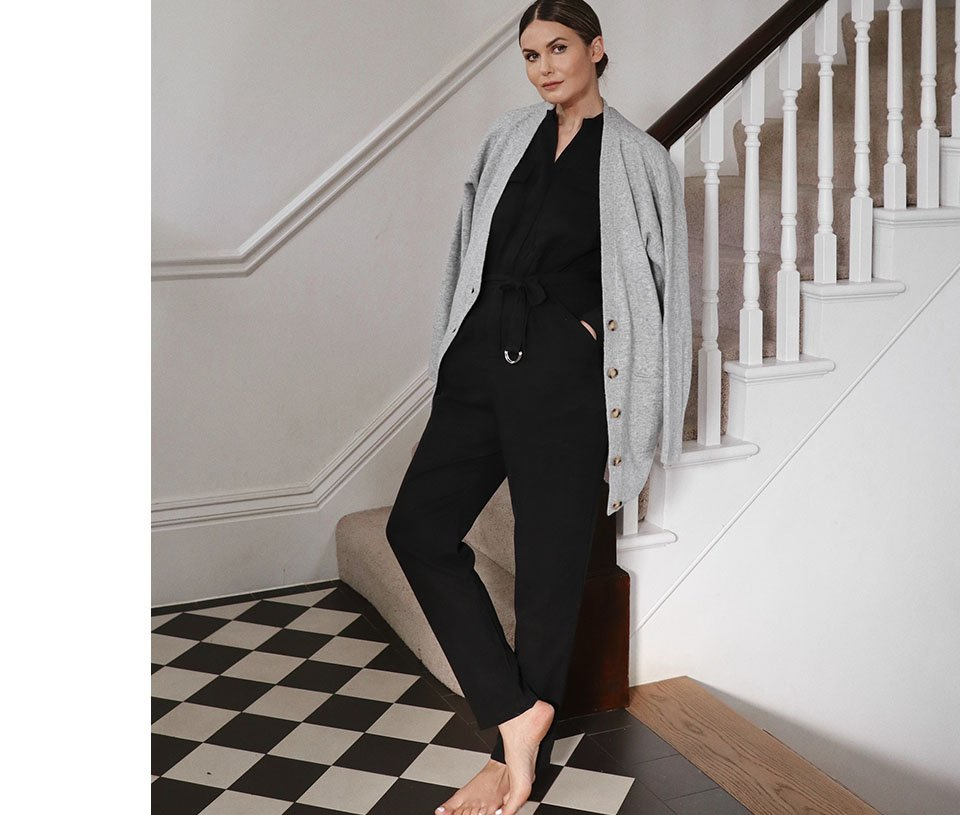 Shop Emory Lyocell Jumpsuit Washed Black, Taryn Boyfriend Cardigan Mid Grey and more
