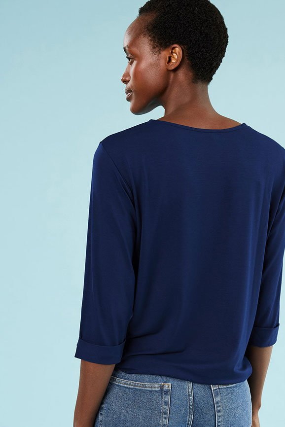 Shop Marnie Ecovero™ Top Indigo, The Girlfriend Jean Washed Blue and more