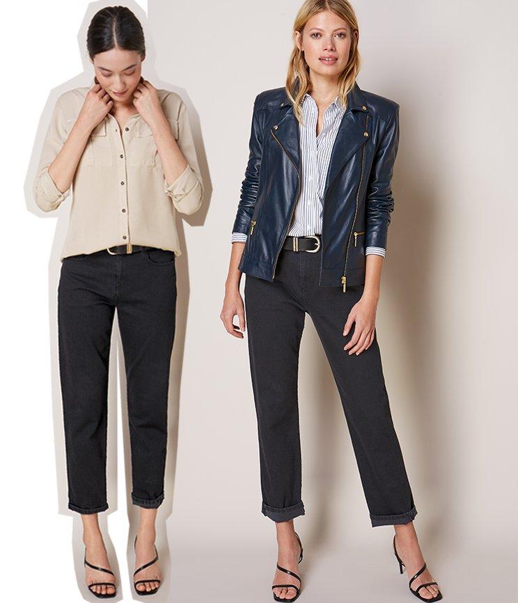 Shop Kara Leather Jacket Classic Navy, Ellen Safari Shirt, Boyfriend Jean Black Wash, Claudia Shirt White & Navy Fine Stripe and more